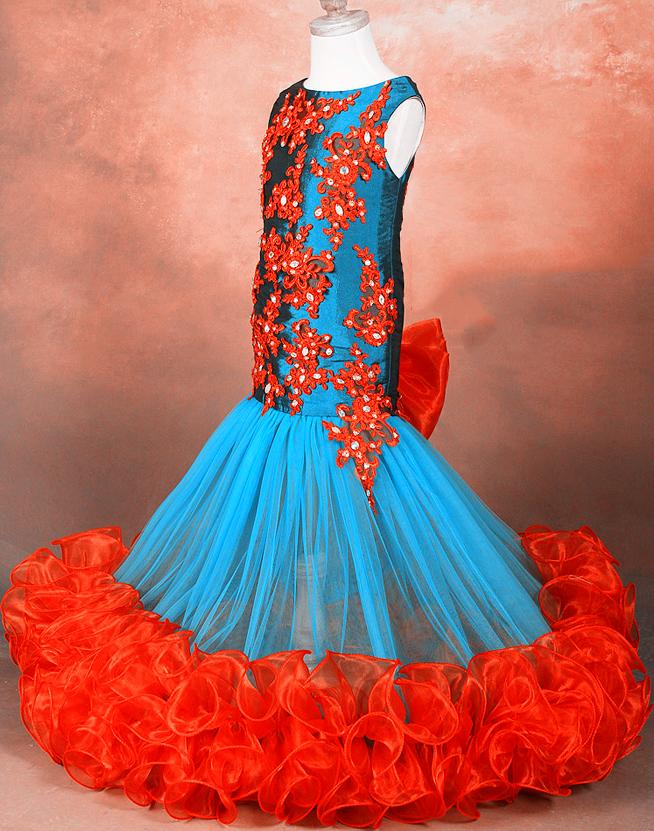 儿童模特走秀旗袍式公主礼服裙女童生日宴会主持人蓬蓬裙花童婚纱