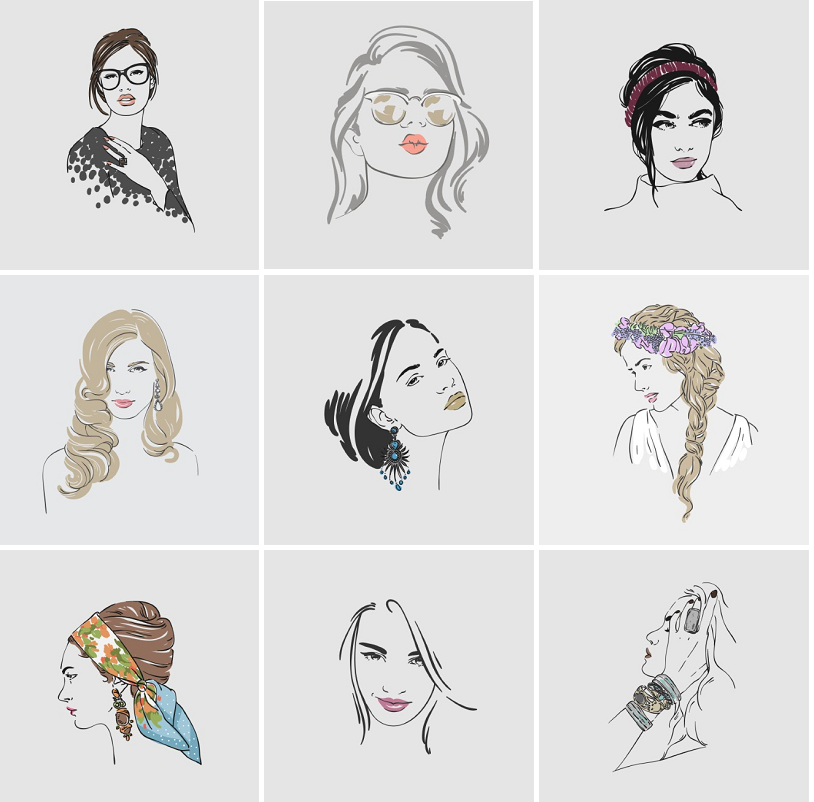 手绘线描线条时尚美女发饰人物头像素描插画eps