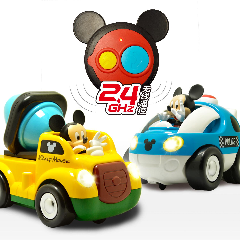 迪士尼遥控音效警车男孩电动遥控车卡通汽车工程车赛车儿童玩具车