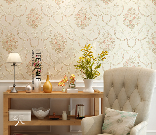 欧式田园墙纸 温馨卧室床头背景壁纸 长沙墙纸实体交易价格更优