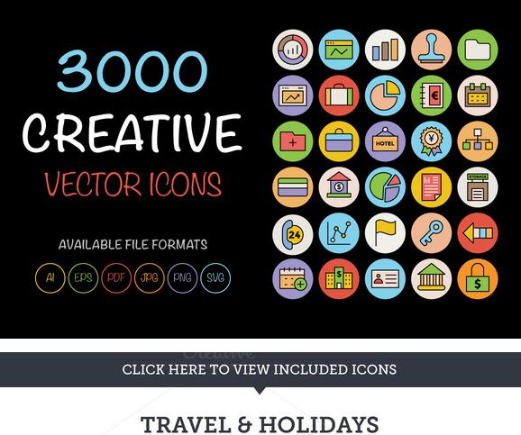 3000个简约彩色ico图标png矢量svg素材photoshop广告手机网站设计