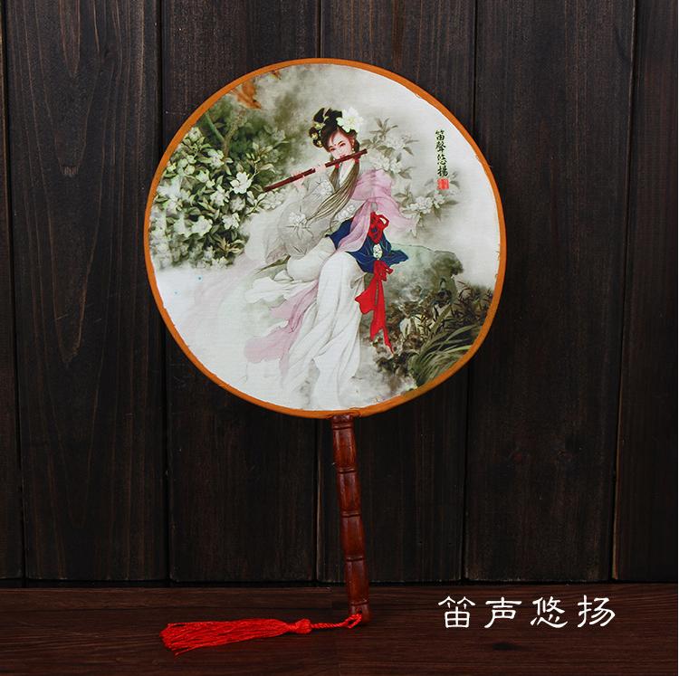 古典绢布团扇 中国风创意古风扇子 汉服古装旗袍圆扇舞蹈竹柄宫扇