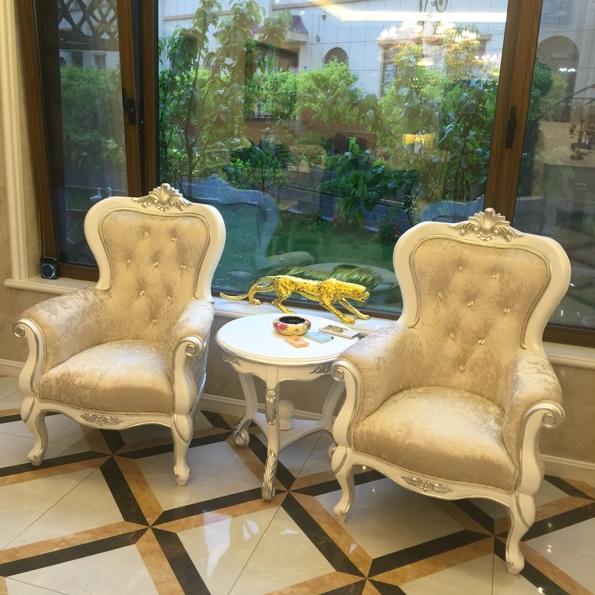 欧式沙发椅新古典形象椅实木老虎椅美容院影楼接待椅