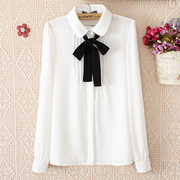 Spring Korean chiffon shirt Female Long Sleeve White Butterfly doll collar with white shirt, wind Department led.