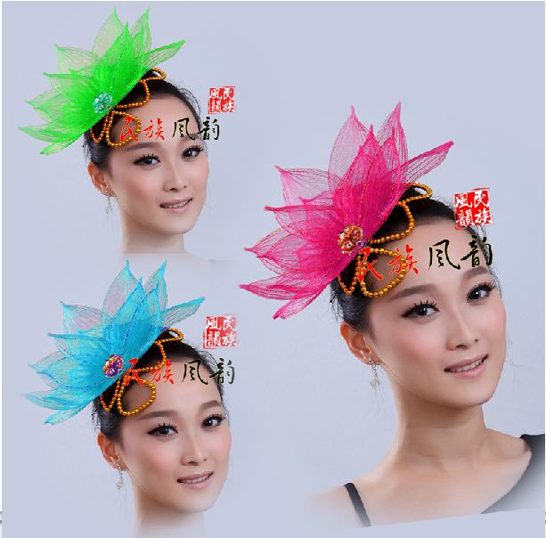 批发成人傣族孔雀舞蹈头饰 现代民族表演 儿童演出网纱大朵头花