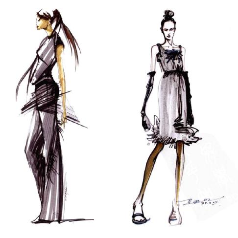 sz1 时装设计专业画手绘表现基础技法 模特服饰人体比例结构绘画