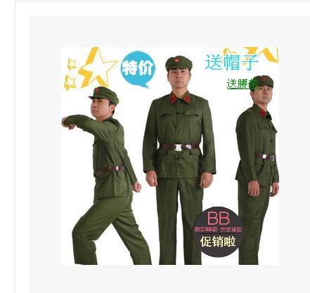 儿童演出衣服 跳舞蹈军迷服装 中国解放用品部队老军装绿套装男女