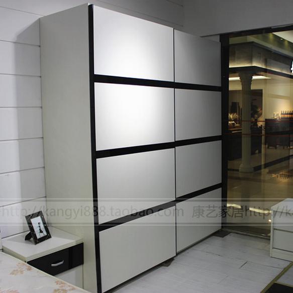 促销特价白色钢琴烤漆移门衣柜外挂衣橱推拉门吊滑门