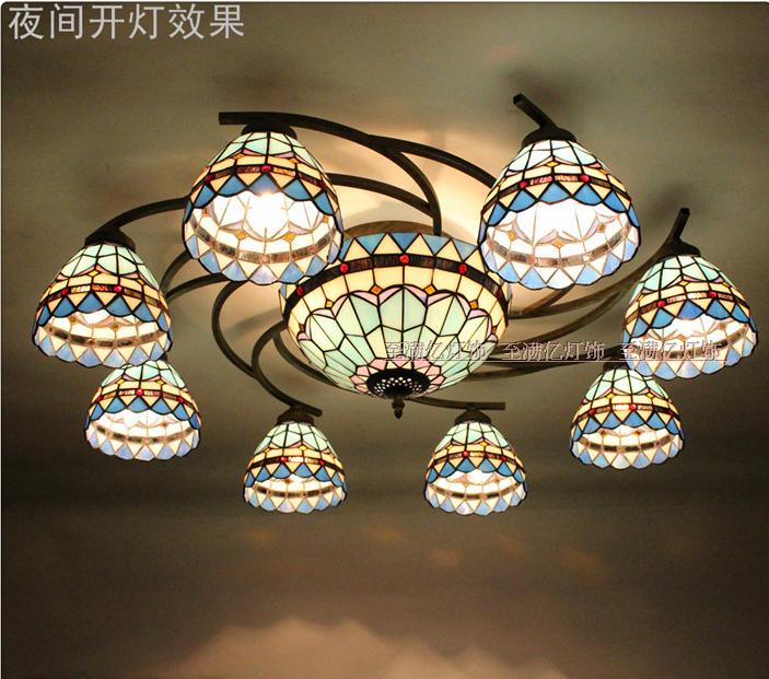 地中海风格欧式卧室灯具美式田园室内灯饰8+1圆形吸