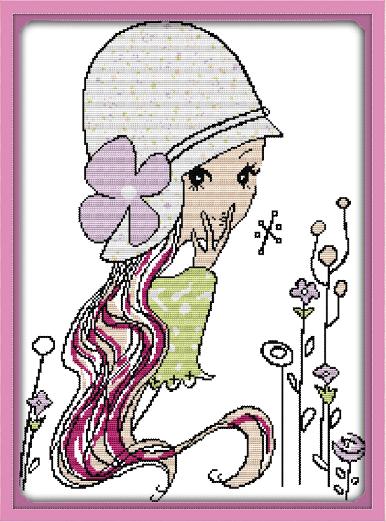 印花十字绣竖款女生房间经典卡通人物头像长发小女孩