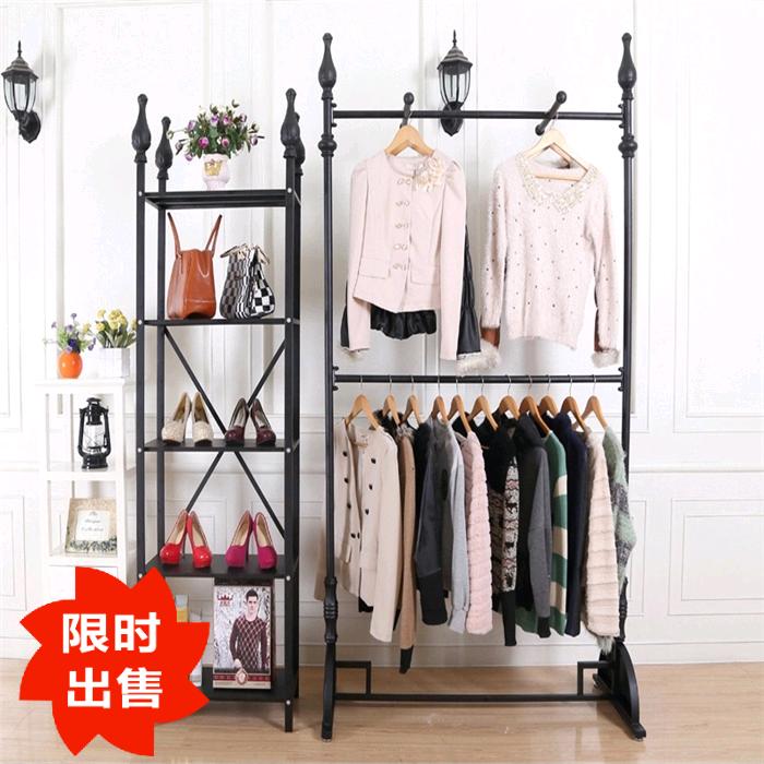 欧式经典铁艺服装架架女装店时尚中岛架正挂侧挂套装