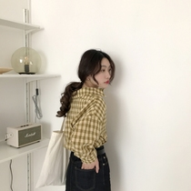 Thin bamboo poles 2018 spring Korean classic wild lapel vintage small lattice wide cuff casual long sleeve shirt