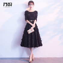 Banquet Evening Dress 2017 new winter black in the long section of the Annual Conference of the host party mini dress dress women