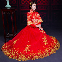 Show WO clothing bride 2017 New Arrival wedding Chinese wedding dress dragon and Phoenix gown toast clothing cheongsam women dress winter