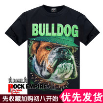The Rock Empire British Bulldog luminous Short sleeve T-shirt summer new loose big code mens Day series