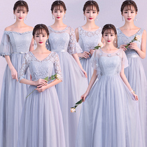 Grey Bridesmaid clothing long section of 2017 autumn and winter new Korean version of the long sleeve sister Dress Bridesmaid group dresses graduation Evening Dress