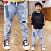 Meters West fruit 2018 children's spring clothing boys jeans spring and autumn new models Korean version of tide clothing trousers large children's clothing trousers
