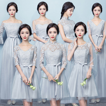 Bridesmaid clothes in the long section 2017 of the new winter Chinese style Bridesmaid group dresses women gray sisters skirt Evening Dress short paragraph