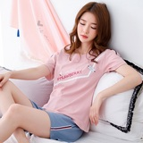 Summer Korean version of pajamas female pure cotton short-sleeved fresh students two-piece set loose home clothes set can wear in summer