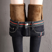 Winter black high waist plush thickened jeans female Korean version stretch slim slim trim warm foot pencil trousers