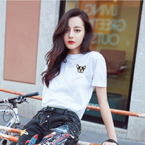 Zi Tian 2018 the new plain white T-shirts female cartoon puppy embroidery Short Sleeve solid color loose cotton Korean version of summer dress