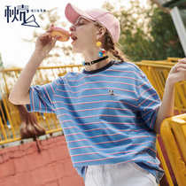 The fall of the housing 2018 summer new Korean version of loose crew neck Short Sleeve fine striped T-Shirt female wild bottoming blouses tide