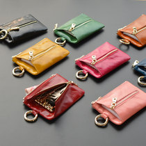 Card bag coin multifunction genuine leather key bag Ladies Mini large capacity Korean cute soft leather small key chain