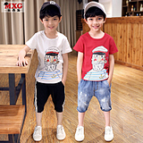 Meters West fruit children's summer dress 2018 new boys t-Shirt Short Sleeve bottoming shirt T-Shirt tops tide big children's wear Han Edition