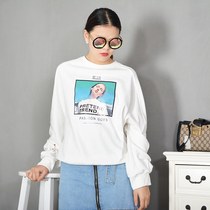 MM C women's genuine 2018 spring new round neck avatar printing loose wild sweater T-Shirt female 8770